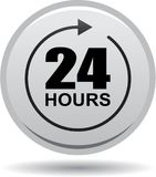 24 hours support web button gray. Vector illustration isolated on white background - 24 hours support web button gray Stock Photography