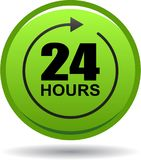 24 hours support web button green. Vector illustration isolated on white background - 24 hours support web button green Royalty Free Stock Photography