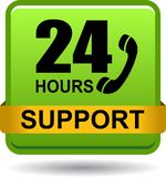 24 hours support web button green. Vector illustration isolated on white background - 24 hours support web button green Stock Photography