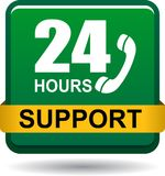 24 hours support web button green. Vector illustration isolated on white background - 24 hours support web button green Stock Photos