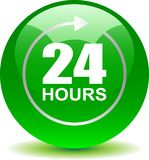 24 hours support web button green. Vector illustration isolated on white background - 24 hours support web button green Stock Photo
