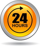 24 hours support web button orange. Vector illustration isolated on white background - 24 hours support web button orange Stock Photos