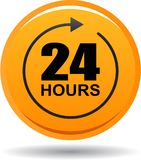 24 hours support web button orange. Vector illustration isolated on white background - 24 hours support web button orange Royalty Free Stock Images