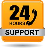 24 hours support web button orange. Vector illustration isolated on white background - 24 hours support web button orange Stock Image