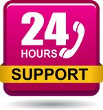 24 hours support web button pink. Vector illustration isolated on white background - 24 hours support web button pink Royalty Free Stock Images