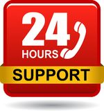 24 hours support web button red. Vector illustration isolated on white background - 24 hours support web button red Royalty Free Stock Images