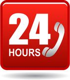 24 hours support web button red. Vector illustration isolated on white background - 24 hours support web button red Stock Images