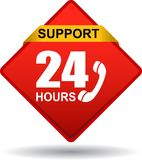 24 hours support web button red. Vector illustration isolated on white background - 24 hours support web button red Royalty Free Stock Image