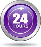 24 hours support web button violet. Vector illustration isolated on white background - 24 hours support web button violet Royalty Free Stock Photo