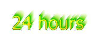 24 hours. Surround the phrase in the text figure. round the clock work. Green and yellow Stock Image