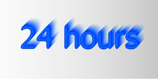 24 hours. Surround the phrase in the text figure. round the clock work. Vector illustration of blue color.  Royalty Free Stock Photos