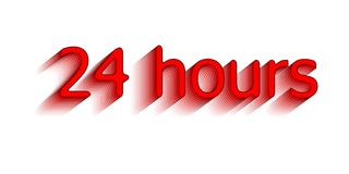 24 hours. Surround the phrase in the text figure. round the clock work. Vector illustration of red color.  Stock Photo