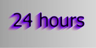 24 hours. Surround the phrase in the text figure. round the clock work. Vector illustration of ultramarine color. Transparent shadow Stock Photography