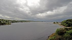 8 hours time lapse of Connel and the Falls of Lora seen from the Connel bridge. Argyll, Scotland stock video footage