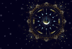 Hours, time, life, New Year. Cosmic clock shows the time remaining before the start of a new period of life, New Year Royalty Free Stock Photo