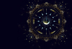 Hours, time, life, New Year. Cosmic clock shows the time remaining before the start of a new period of life, New Year Vector Illustration