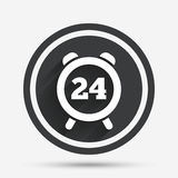 24 hours time sign icon. Clock alarm symbol. Customer support service. Circle flat button with shadow and border. Vector Stock Photos