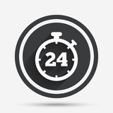 24 hours Timer sign icon. Stopwatch symbol. Customer support service. Circle flat button with shadow and border. Vector Stock Images
