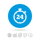 24 hours Timer sign icon. Stopwatch symbol. Customer support service. Copy files, chat speech bubble and chart web icons. Vector Stock Image
