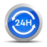 24 hours update icon blue round button illustration stock illustration