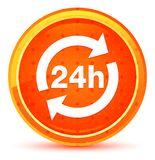 24 hours update icon natural orange round button vector illustration