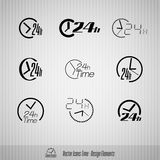 24 hours vector icons. Vector time icons. 24 hours symbols. Design elements Stock Photography
