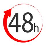 48 hours on white background. flat style. 48 hours sign. 48 hour. S for your web site design, logo, app, UI. 48 hours symbol. turn around time icon with circular stock illustration