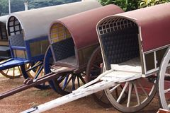 Hourse Drawn Carriages. A row of horse carriages Royalty Free Stock Images