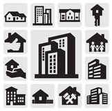Hous icons. Vector black hous icons set on gray Royalty Free Stock Photography
