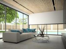 Hous intérieur avec le rendu de la piscine 3D Image stock
