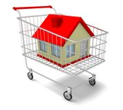 Hous in shopping cart Royalty Free Stock Image