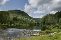 Housatonic River in West Cornwall, Connecticut. A favorite boating and recreation river in northeastern Connecticut Stock Images