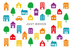 House‐moving greeting card.  Stock Images