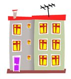 House 06. Isolated apart style block houses Royalty Free Stock Photography