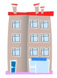 House 08. Isolated apart style block houses Royalty Free Stock Images