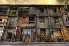 House. A block of houses made of wood Royalty Free Stock Images