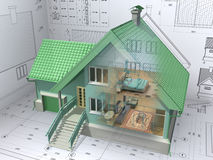 House. 3D isometric view the residential house on architect drawing. Background image is my own Royalty Free Stock Photo