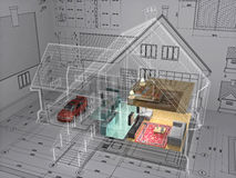 House. 3D isometric view the residential house on architect drawing. Background image is my own Royalty Free Stock Image