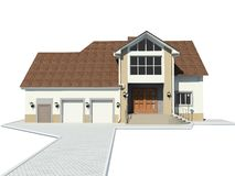 House. Rural small house. A modern facade. 3D figure Royalty Free Stock Photography