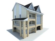 House. Rural small house. A modern facade. 3D figure royalty free illustration