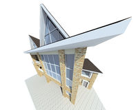 House. Rural small house. A modern facade. 3D figure stock illustration