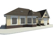 House. Rural small house. A modern facade. 3D figure vector illustration