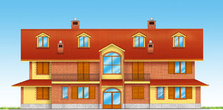 House illustration. Precise architecture of an italian house vector illustration