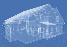 House. Abstract architectural 3D drawing of apartment house on blue Royalty Free Stock Photos