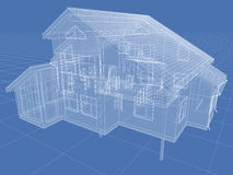 House. Abstract architectural 3D drawing of apartment house on blue Stock Image