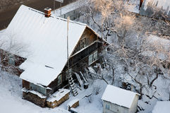 House. Outdoor Small House in winter Stock Image