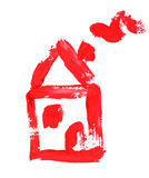 House. Small red little house, drawing on white Royalty Free Stock Photography