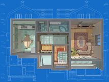 House. 3D isometric view of the cut residential house on architect's drawing Royalty Free Stock Photography
