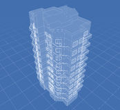 House. Abstract architectural 3D drawing of apartment house on blue Stock Photography