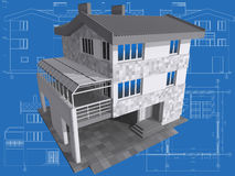 House. 3D isometric view of residential house on architect drawing Stock Image